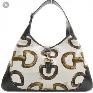 Gucci canvas bamboo horsebit print Jackie hobo